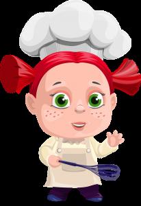 Meisje bakt groentepannenkoeken